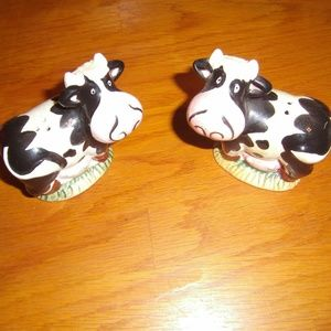 Dairy Cow Salt & Pepper Shakers Ceramic Whimsical